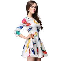 New 2014 Flowerier multicolour tropical print women summer dress high waist  cute casual dress fashion elegant chiffon dress