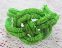 Hot-selling fashion neon color chain knitted Chinese knot bracelet, 3pcs/lots, Free shipping