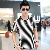 Little miss 2014 summer o-neck short-sleeve T-shirt male stripe t-shirt male