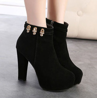 New Fashion Black Platform Chunky High Heels Rhinestone Skull Suede Boot Shoes With Zipper Size 35-39