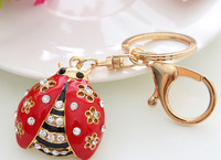 Free Shipping! Alloy With Rhinestones Coccinella Septempunctata Bags Car Keychain Keyring For Men and Women key ring