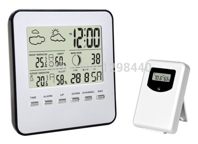 RF Weather Station Wireless with Remote Sensors Barometer Weather Forecast Temperature Humidity LCD display(China (Mainland))