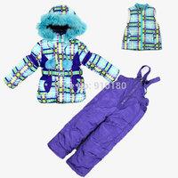 Children's winter clothing set Boy's girls Ski suit sport sets windproof warm coats fur collar Jackets +suspenders+vest
