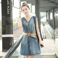 2014 summer casual fashion women's denim one-piece dress slim V-neck sleeveless loose