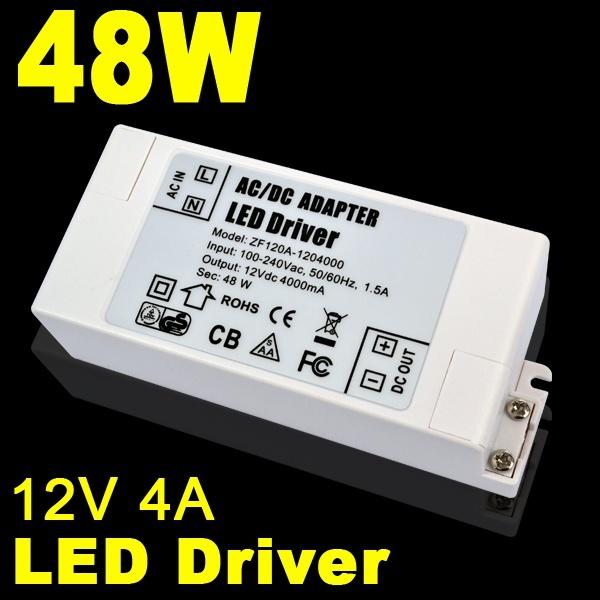 AC100-240V to 12V 4A 48W LED Driver AC DC Adapter Power Supply 48 Watt Lighting Transformer for LED Lamp Strip Light 110V 220V(China (Mainland))