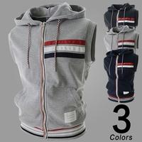 Hot Men Autumn Spring Sleeveless Fashion Hoodie Vest Dark Blue/ Dark Gray/ Light Gray Color For Choose Four Size Free Shipping