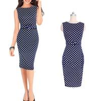 Women's Polka Dot Belt Slim Sleeveless Bodycon Work Party Evening Pencil Dress