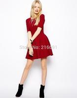 2014 New Fashion women elegant pure color half sleeve party dress Lady casual slim brand design pleated dresses #E854