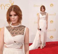 Kate Mara 66th Emmy Awards 2014 Elegant High Neck Beaded See Through Backless White Long Prom Dress Celebrity Dresses