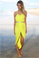 Sexy Women's Ankle-Length Asymmetrical Dress,Spaghetti Strap Low-Cut Evening Dress,Ladies' Slit Party Nightclub Dress,S M L
