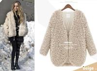 Hot Sale 2014 Faux fur lining women's winter warm long fur coat jacket clothes wholesale Free Shipping