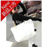 Free shipping Winter Fur women's handbag fashion warm Rabbit shoulder bag Chian tote bags