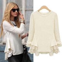 Women's 2014 autumn fashion patchwork long-sleeve t shirts slim basic shirt free shipping 7068