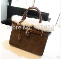 Free shipping winter Rabbit Boston women;s handbags fashion big brand lock tote bag shouler bags