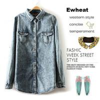 New Casual Fashion Loose Snow Denim Blouse Long-sleeved Vintage Women Blouse Plus Size