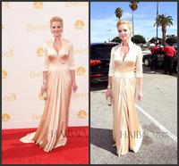 Katherine Heigl 66th Emmy Awards 2014 Elegant Evening Dress High Neck Long Sleeve Pleated Satin Champagne Celebrity Dresses