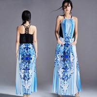 2014 long evening dress o-neck spaghetti strap hot&sexy backless chiffon print dress party evening elegant vestidos de festa