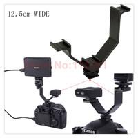 Portable Camera Triple Hot Shoe V Mount Bracket for LED Video Lights, Microphones or Monitors