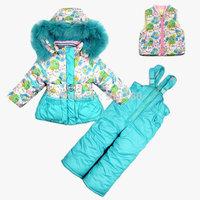 Children's winter clothing set baby Girl's Ski suit sport sets Outdoor windproof warm coats Jackets+ trousers+vest