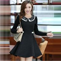 2014 New In Fashion Autumn Women's Dresses Sweet Dot Basic Woolen Long-sleeve Doll Collar Female Dress