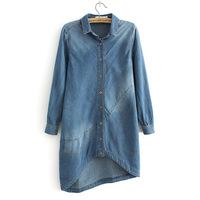 2014 Autumn Top Quality Women Long sleeve Cotton Denim Shirt Jeans lapel Long Cowboy Asymmetrical Loose Shirts S-XL