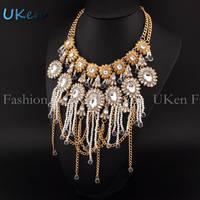 2014 New Women Short Design Big Brand Super Luxury  ZA Pearl Rhinestones Tassel Choker Crystal Pendants Statement Necklaces