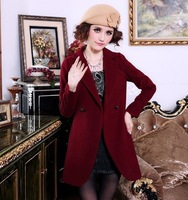 Top!  2014   Korean  Style  Wool Coat  Thickening Plus Cotton Woolen Overcoat   Plus  Size  S-XXL