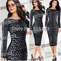 new fashion women Leopard long sleeve bodycon dress autumn spring womens slim pencil dress plus size  xxl
