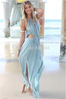 Sexy Women's Floor-Length Asymmetrical Dress,Spaghetti Strap V-Neck Beach Evening Dress,Ladies' Slit Party Nightclub Dress,S M L