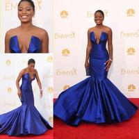 Keke Palmer Royal Blue Dress 66th Emmy Awards 2014 Sexy Red Carpet Celebrity Dresses Deep V Neck Satin Mermaid Evening Gown