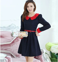 2015 New In Fashion Autumn and Winter Slim Basic Long-sleeve Doll Collar Woolen Female Dress