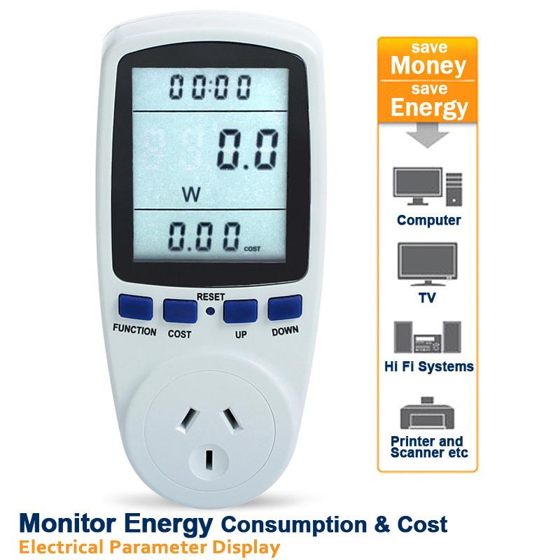 AU Plug Digital Power Meter Energy Monitor Watt Wattage Voltage Amps Meter Analyzer Medidor Electricity Monitor Free Shipping(China (Mainland))