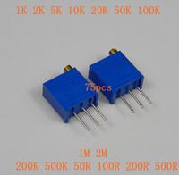 75pcs 3296W Trim Pot Trimmer Potentiometer Include 15 values (Each 5pcs)