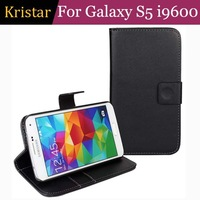 100pcs/lot Book Style Stand Leather Case with Card Slot For Samsung Galaxy S5 i9600 Free Shipping