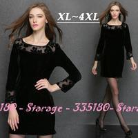L-XXXXL High Quality Brand Velvet Hollow Lace Patchwork Long Sleeve Slim Dresses 2014 Autumn Plus Size Ladies Clothing 3153