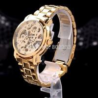 Men's Skeleton Mechanical Hand Wind Winding Fashion Wrist Watch - Gold Metal
