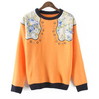2014 Fashion Round Neck Printed and Stitching Women Sweater All Match Pullover with Beading and Embroidery