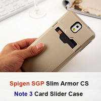 100pcs/lot 2014 New SGP Tough Armor Case For Samsung Galaxy Note 3 With Credit Card Slider Sliding Slot 13 Colors