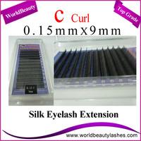 10trays/Lot 0.15mm Thickness C Curl 9mm Korean Silk Eyelash Extensions