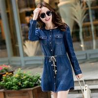 2014 Spring Autumn Vintage Retro Women Button Pocket Blue Jean Denim Dress long Sleeve Big Size M-XXXL
