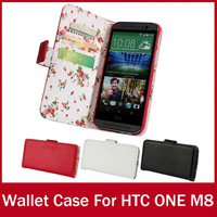 Stand Wallet For HTC ONE M8 Case Fashion Book Style With Credit Card Holder For HTC M8 Cellphone Accessory