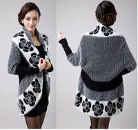 women casual cardigans sweater coat knitwear 2014 autumn winter fashion floral print long batwing sleeve poncho tricotado
