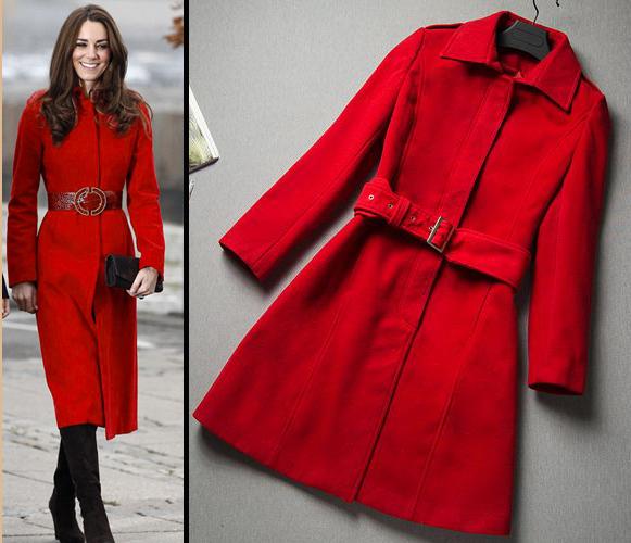Long Red Wool Coat