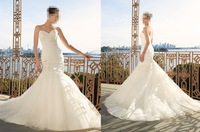 2014 New Arrival White Ivory With Train Wedding Dresses Sweetheart Beading Applique Bridal JH3398