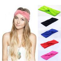 6 pieces/lot vintage twist knot turban headband for women Sport Yoga hair band Bandana hijab Headscarf Wrap For girls headwear