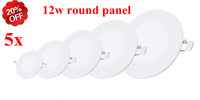 5PCS/LOT Ultra thin 12W LED 110V 220V LED Slim Round Panel Light/Ceiling recessed gird Downlight Painel de led for home lighting