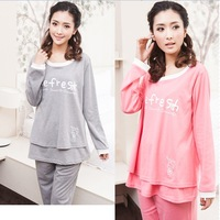 Free shipping 2014 maternity pajamas pregnant women sleepwear o-neck long sleeve letter printed nightwear nursing clothing sets