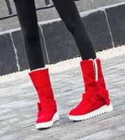 Free shipping/Two girls with bowknot thick wool short boots wear cotton shoes increased within the skid