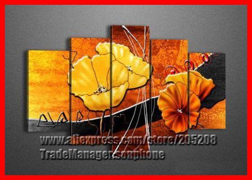 emoldurado 5 painel enorme tulipa pintura a óleo sobre tela laranja flor de parede arte foto decoração casa xd02564 quadro de parede(Hong Kong)