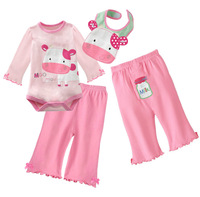 FREE SHIPPING NEW 3 Piece Baby set Long Sleeve Bodysuits + Pants + Bibs PINK MOO 3~18months (1312)